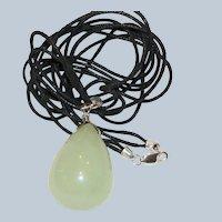 Sterling & Serpentine Teardrop Pendant Necklace