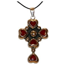 Sterling & Red Stone Hearts Cross Necklace