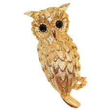 Owl Pin Brooch with Black Crystals