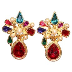Multi-Color Clip Earrings 2 1/4 inches