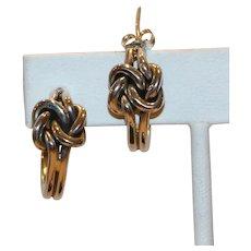 Sterling Love Knot Pierced Hoop Earrings