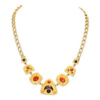 Egyptian Style Enamel Necklace 23 inches
