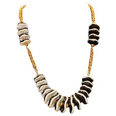 Black White & Gold Tone Lucite Station Necklace 28 inches