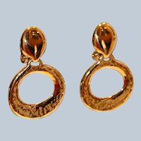 Door Knocker Clip Earrings 1 3/8 inches