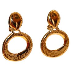 Door Knocker Clip Earrings 1 3/8 inches