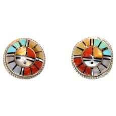 Zuni Native American Sadie & Morris Laahte Sun Face Inlay Pierced Earrings