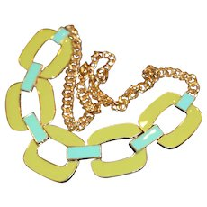 Chartreuse & Turquoise Enamel Squares Link Necklace 20 inches