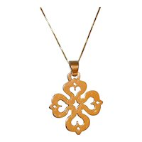 James Avery Retired 14k Gold Cross Heart Pendant with Chain