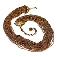 Twenty Strand Curb Link Choker Necklace 16 inches