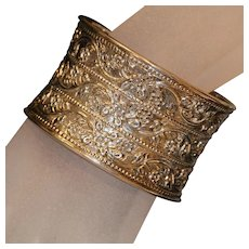 Sterling Stamped Floral Motif Cuff Bracelet 7 1/2 inches