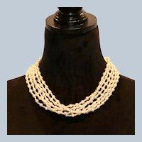 Imitation Pearl Six Strand Torsade Necklace