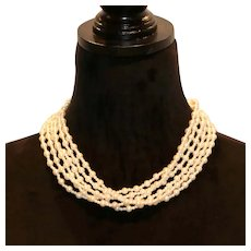 Imitation Pearl Six Strand Torsade Necklace