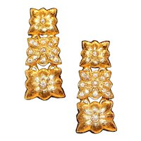 Floral Motif Crystal Pierced Earrings