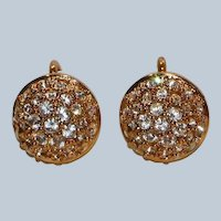 Gold Tone Swarovski Crystal Pave Clip Earrings