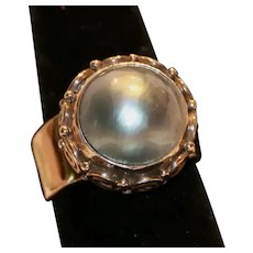 Sajen Sterling Freshwater Cultured Mobe' Pearl Ring Size 6