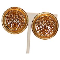 Scroll Design Clip Earrings 1 1/4 inches