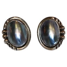 Native American Sterling and Abalone Pierced Earrings