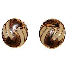 Monet Enamel Swirl Pierced Earrings
