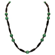 Onyx & Malachite Beaded Silver Tone Necklace 21 inches