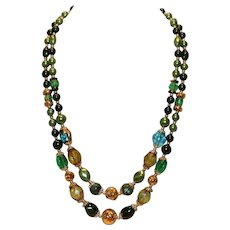 1950's Multi-Color Two-Strand Bead Necklace Japan 20 inches