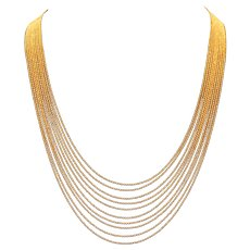 Monet Gold Tone Ten Strand Micro-Bead Necklace 22 inches