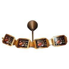 Post WWII Brass Alloy & Enamel Panel Bracelet 7 1/2 inches