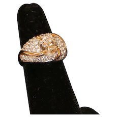 10K Gold & CZ Cocktail Ring size 6