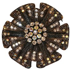Dark Gunmetal Tone and Crystal Pin Brooch 2 inches