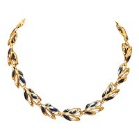 Gold Tone and Cadet Blue Enamel Choker Necklace 19 inches