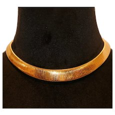 Monet Bold Gold Tone Omega Choker Necklace 16 inches
