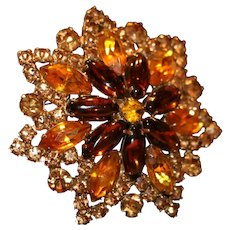 Gold Tone & Amber Color Rhinestone Brooch Pin 2 1/2 inches