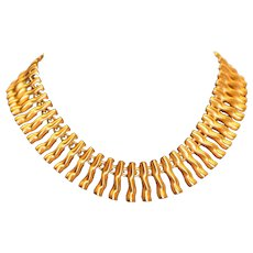 Anne Klein Gold Tone Organic Shapes Choker Necklace 17.5 inches