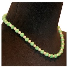 Freshwater Pearl & Enhanced Jade Bead Necklace