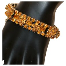 Gold Tone & Amber-Color Rhinestone Link Bracelet 7 3/8 inches