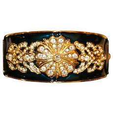 Joan Rivers Gold Tone Pansy Enamel & Crystals Cuff Bracelet