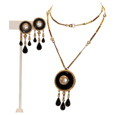 Florenza Gold Tone & Black Crystal & Imitation Pearl Necklace, Earrings Set with Separate Pendant