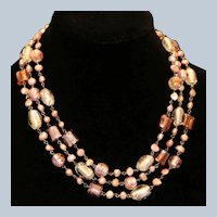 Cultured Freshwater Pearl & Art Glass Bead Necklace