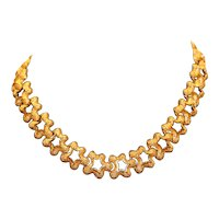 Monet Gold Tone Textured Star Shape Link Choker Necklace 16 1/4 inches