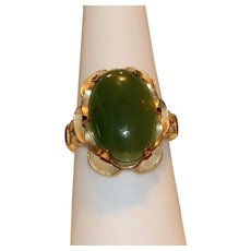 12k Gold-Filled Nephrite Jade Cabochon Ring Size 7 1/2