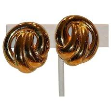 Erwin Pearl Gold Tone Clip Earrings 1 inch