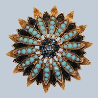Panetta Signed Pin Brooch with Imitation Sapphires & Turquoise 1  3/8 inches