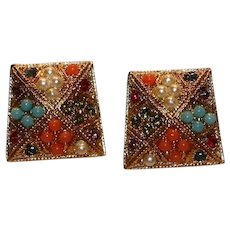 D'Orlan Gold Tone Multi-Color Clip Earrings 1/2 inch