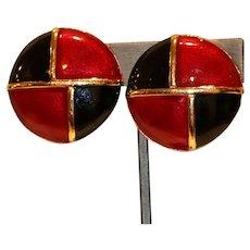 Red Black & Enamel Clip Earrings