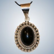 Sterling & Onyx Oval Pendant 2 1/2 inches