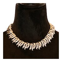 Coro Silver Tone Leaf Motif Choker Necklace 13 to 16 inches