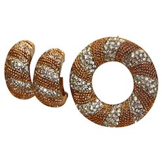 Panetta Gold Tone & Crystal Clip Earrings & Pin Brooch Set