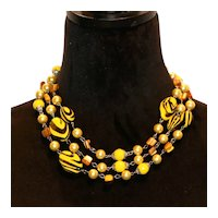 Yellow Black Lucite Necklace w Imitation Pearls