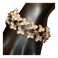 Coro Leaf Link Bracelet w Safety Chain 7.25