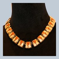 Cream & Rust Enamel Choker Necklace 16 inches