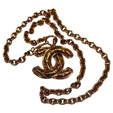 Chanel Gold-Tone Chain Necklace with Quilted Logo Pendant